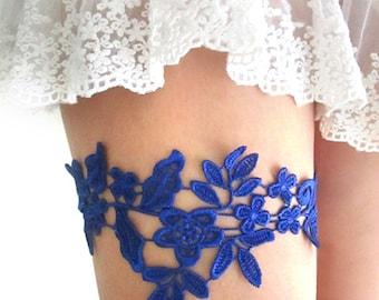 Royal Blue Lace Garter Set Bridal Garter Wedding Garter Belt Bridal Garters Lace Romantic Garter : EZURA Lace Garter