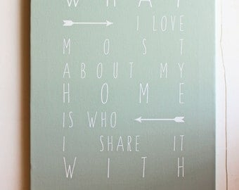 What I love most about my home is who I share it with, Giclee, Print, Canvas Sign, Typography Word Art, Quote, Home Decor, Gift