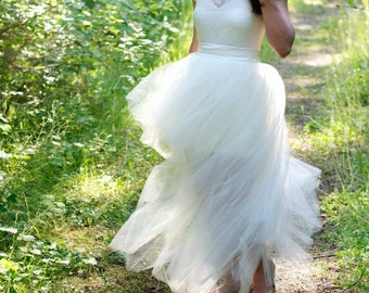 High Low Maxi Tulle Skirt // Detachable Tulle Skirt // Bridal Reception Tulle Skirt by Kellie Falconer