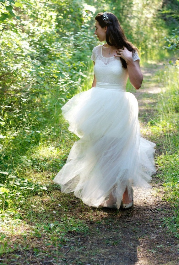 High Low Maxi Tulle Skirt // Detachable Tulle Skirt // Bridal Reception Tulle Skirt by Kellie Falconer