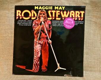 CRAZY CUPID SALE Rod Stewart - Maggie Mae - 1970s Vintage Vinyl Record Album...English Import