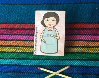 Pregnant mom match box magnet, baby bump magnet