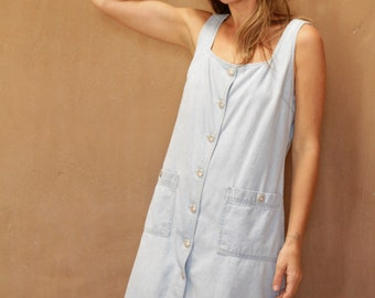 90s BLUE denim jean JUMPER overall OXFORD faded dress