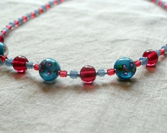 Pink and Blue Rose Glass Bead Necklace