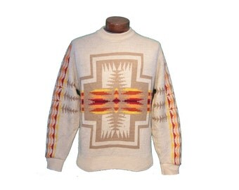 Vintage 70's Pendleton White Aztec Sweater Size Large