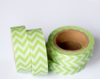 50% OFF SALE - 1 Roll of Lime Green and White Chevron Zig Zag Washi Tape / Decorative Masking Tape (.60 inches wide x 33 feet long)