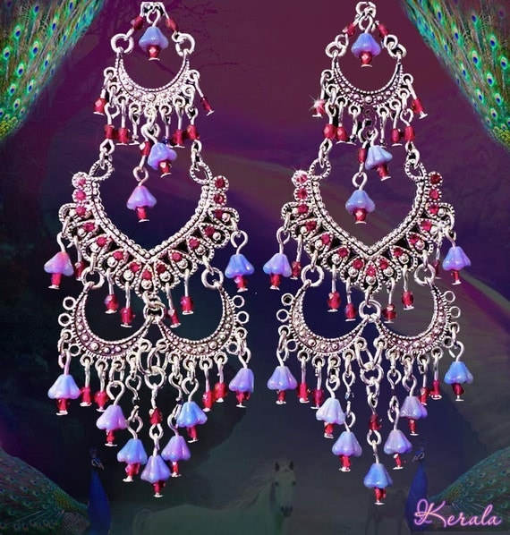 Red Aesthetic Chandelier: Red And Purple Tiered Bright Silver Belly Dance By Kerala