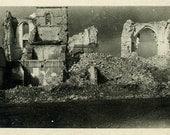 "Vintage Real Photo Postcard ""After War"" Building Ruins Antique RPPC Photo Black & White Photograph Found Old Paper Ephemera Vernacular - 141"