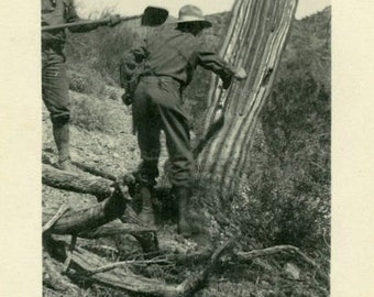 "Vintage Photo ""Cactus Bullies"" Desert Southwest Snapshot Photo Old Antique Black & White Photography Found Paper Ephemera Collectible - 08"
