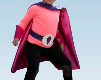 Toddlers Satin Superhero Cape Set, includes personalized cape, mask, belt and power cuffs, the ultimate superhero costume