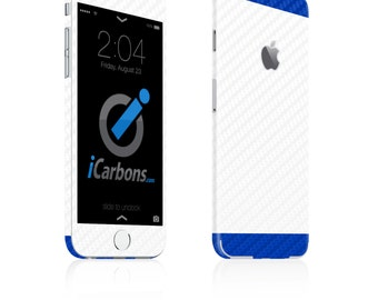 iCarbons 2 Tone White / Blue Carbon Fiber iPhone 6 / 6 Plus / 6S / 6S Plus Skin Decal FULL COMBO