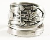Disneyland Ring, Sleeping Beauty Castle, Sterling Silver Spoon Ring, Silver Disney Land Ring, Large Disney Ring, Adjustable Ring Size (5807)