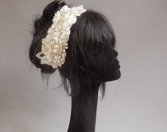 Dutch design classic wedding petal diamante pearl beaded Bandeau Headpiece in off white with silver