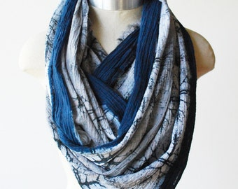 Boho cotton scarf, screen printed, urban fashion scarves, indigo scarf