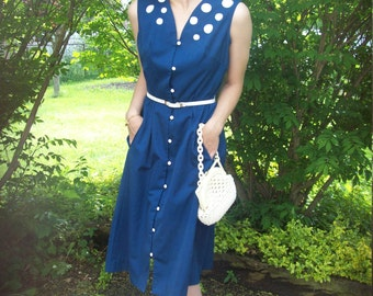 50's Embroidered Nautical Midi Dress, Navy And White Dress By Designer Pat Premo