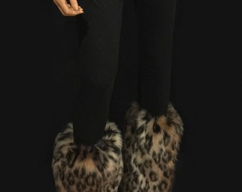 Faux Fur Leg Warmers Boot Covers In Leopard Style: FG106