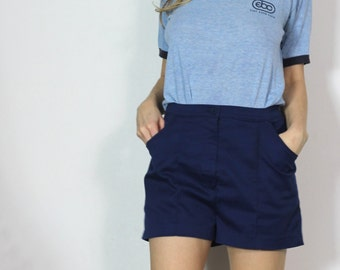 SALE Vintage 80s Navy Leisure Shorts Dark Blue Tennis Shorts m