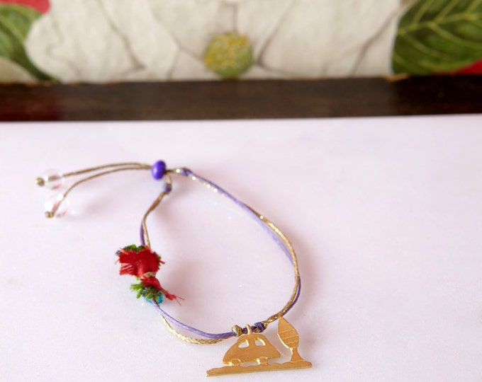 Little car golden bracelet inspired by children draws - adjustable bracelet - colourful gold plated bronze bracelet on a waxed cord