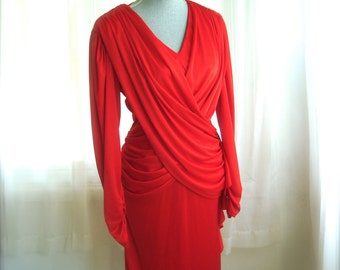 1980's Candy Apple Red Cocktail Dress With Draped Front and Ruched Back, Size Small