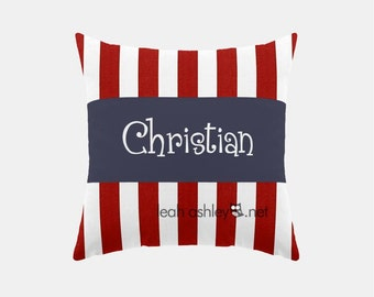Square Name Pillow Cover - Red Stripe, Solid Navy - Reagan