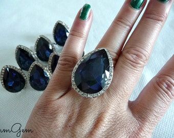 Cobalt ring, sapphire ring, sapphire crystal ring, cobalt crystal ring, royal blue ring, blue ring, cobalt crystal ring, cobalt, size 7.5