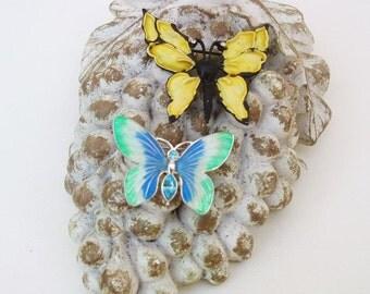 Vintage Enamel Butterfly Pins / Yellow Blue Green Butterfly Brooches / Rhinestone Butterflies Lot of 2