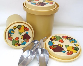 Vintage Canister Set, Nesting Canisters, Rubbermaid Kitchen Canisters, Mushroom Decor, German Metal Scoops - Lot of 6