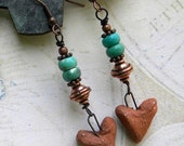 Rustic Turquoise  Heart Earrings - Brick Red Heart Earrings - Southwestern Heart Earrings - Heart Earrings - Rustic Turquoise Earrings