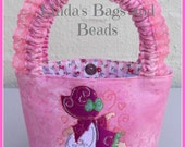 Little Girls Pink Bag with a Pretty Sunbonnet Embroidery Design