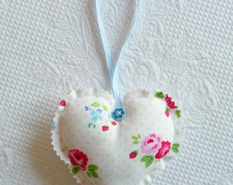 Floral Hanging Heart Ornament Fabric pink roses pastel polka dots europeanstreetteam