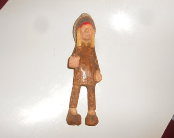 "Cigar Indian Tobbacco Store Style ""Chief"" Wooden Hand Carved Folk Art Tribal Form - American Southwestern Iconic Decorative Collectible"