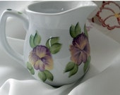 Ceramic Creamer pitcher with hand painted Pansies and polka dots