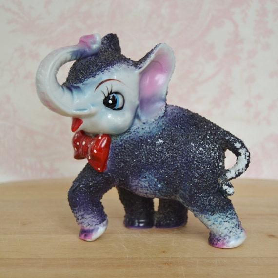Vintage Dark Purple Elephant With Bow Tie Figurine By Arnart