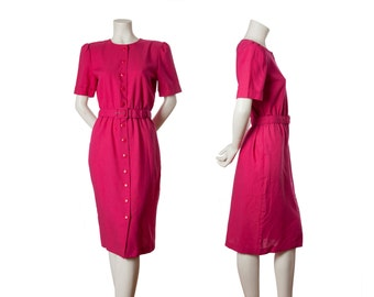 Pink vintage shirt dress with matching belt -- 80s button down dress -- 90s magenta dress w/ shoulder pads -- twin peaks -- sz sm / med