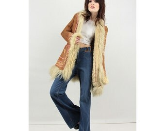 Almost Famous Coat / Vintage Afghan shearling coat / Embroidered Penny Lane coat S