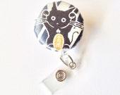 Japanese Lucky Cat (Maneki-Neko) badge holder, Name Badge Holder, Covered Button Badge Reel, Stain Free Badge Holder, Id Card Holder