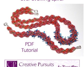 Ever-Evolving Spiral PDF Tutorial (spiral rope bracelet and necklace using SuperDuos, Rizos, and seed beads)