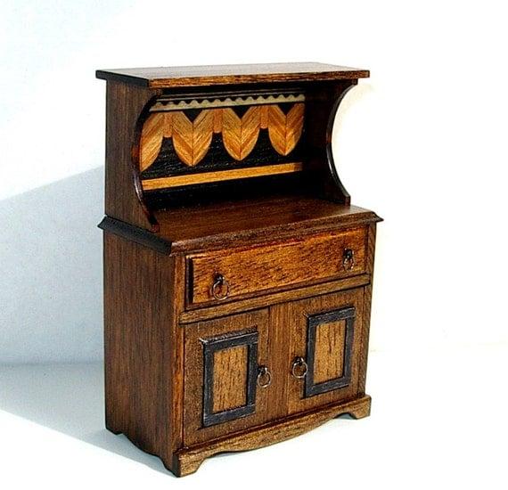 Rustic Hutch With Inlay Trim Rustic Dollhouse Miniature 1/12
