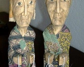 Vintage Hand Carved Asian Wood Figurine Old Peasant Farmer Couple