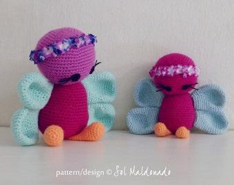 Crochet Amigurumi Pattern Butterfly PDF - butterflies amigurumi Toy crochet pattern - Instant DOWNLOAD