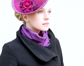 Pink Check Harris Tweed Saucer Brimmed fascinator race hat