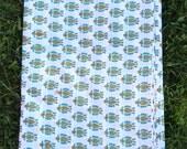 "Red, Green, Mustard Leaf Hand Block Print 100% Cotton Fabric, 1 yard x 45"", Traditional Border Printed, Fashion, Sewing, Craft Supply"