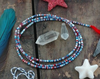 Red, White, & Blue African Vinyl Record Disc Beads, Heishi, Multi-Colored, Tiny 3mm Festive Summer Holiday Fashion, Jewelry Making Supply