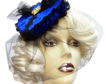 Blue Velvet Veiled Gothic Victorian Heart Pillbox Fascinator Steampunk Veil Hat