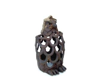 Antique Cast Iron Owl Gargoyle Rustic Garden Statuary Vintage Barn Owl Black Hanging Lantern