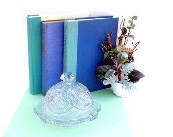 Vintage Cloche Butter Dish Clear Pressed Glass Cheese Dome Butter Cloche Heritage Glassware Kemple