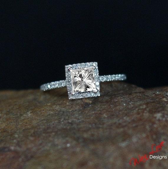Moissanite Princess Diamond Halo Engagement Ring .8ct 5mm 14k 18k ...