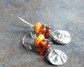 fine silver and Baltic amber bee charm earrings - sweetness, prosperity and community