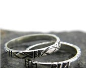 Silver stacking rings, sterling silver ,set of two stack rings, patterned band rings, handmade stack band ring size 8 , 925 silver jewelry
