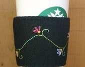 Hand Embroidered Floral Vine Felt Cup Cozy